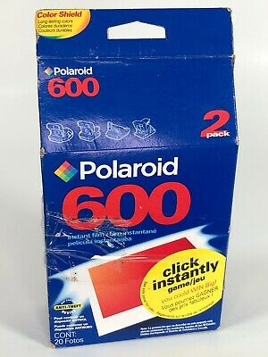 Polaroid 600 Instant Film 2 Pack w/ 20 Photos Color Shield Expired 1/2004 Sealed