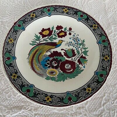 ROYAL SPHINX Boch Wall Plate Delft 1910 Peacock Peony Platter Bowl Polychrome