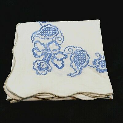 VTG Linen Tablecloth Cross Stitch Orchids Blue Gray Scallop Edge 46 X 48 Flaws