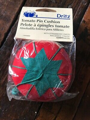 Vintage Style Dritz Tomato Pin Cushion W/Strawberry Emery-3110