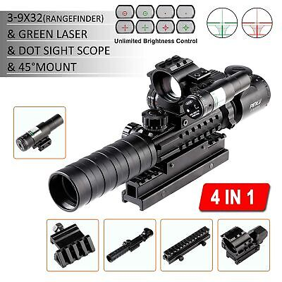 4-in-1 Combo 3-9x32EG Tactical Optical Reticle Riflescope Rangefinder New