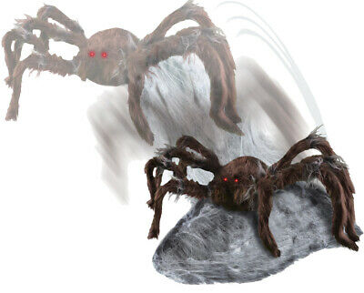 Halloween Animated Jumping Brown Spider Lighted Eyes Prop Decoration