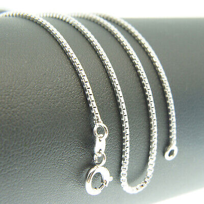18k White Gold F 46cm 18'' necklace 1mm solid box chain for pendant AUS MADE