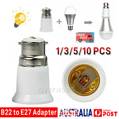 10PCS B22 to E27 Bulb Light Lamp Base Edison Screw Bayonet Converter Adapter CD