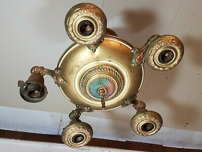 Vintage Antique Pan Chandelier 5 Arm Brass Ceiling Light Fixture missing 1 part