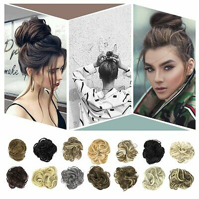 Natural Human Curly Messy Bun Hair Piece Scrunchie Updo Fake Hair Extensions US