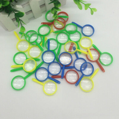 10Pc Mini Magnifying Glasses Plastic Pocket Children Detective Explorer Toy