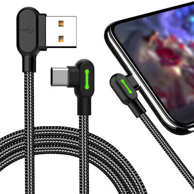 Type C 90 Degree Right Angle USB C 2.0 Fast Data Sync Charging Charger Cable ZE