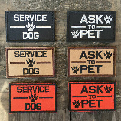 6Pcs K9 Service Dog Ask To Pet Harness Vest Tactical Morale Badge Ops Patches
