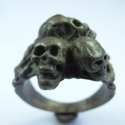 Roman Ancient Artifact Silver Gladiator Massive Ring With Skulls And Bones