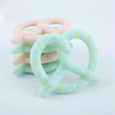 Silicone Pretzel Teether Bread Baby Teething Chew Necklace Pendent Toys BPA Free