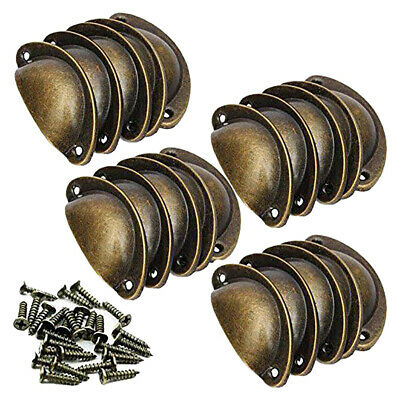 20PCS Antique Cupboard Cabinet Knob Drawer Furniture Door Shell Cup Pull Handles