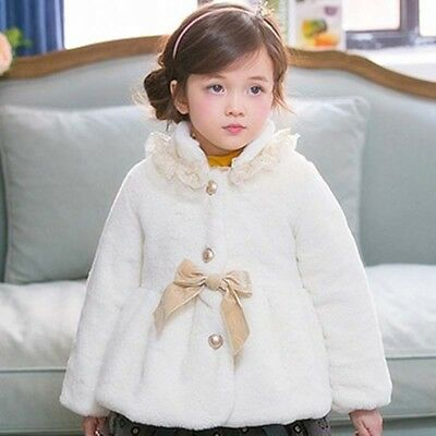 Warm Thicken Jacket Cute Bow Child Kids Faux Fur Coat Cloak Trench Coat Girls