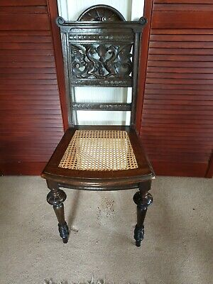 Antique GRIFFIN Carved HALL CHAIR. 19th Century CARVED OAK Wicker Seat.