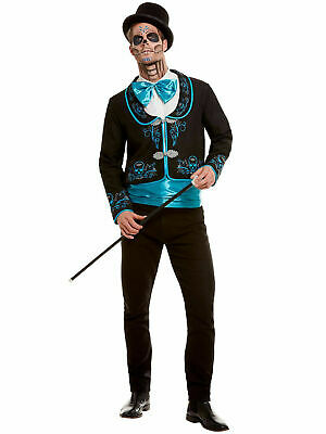 Mens Day Of The Dead Costume Adults Halloween Skeleton Fancy Dress Outfit Scary
