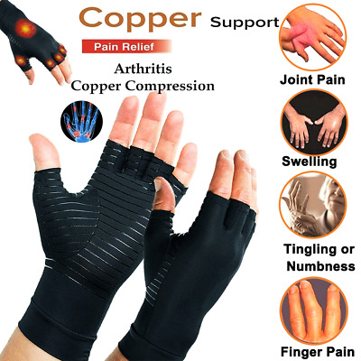 Arthritis Gloves Fingerless Medical Support Therapeutic Copper Compression Fit