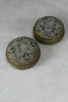 Pair Vintage Gilt Floral Tapestry Beaded Footstools Stools