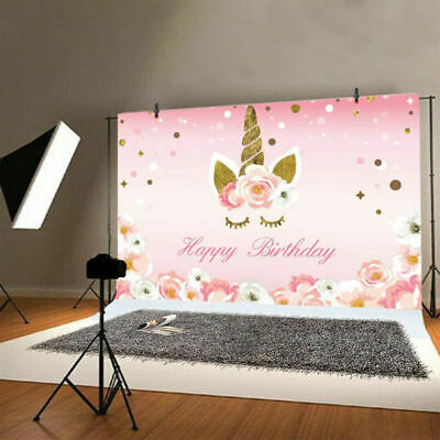 5X3ft Cartoon Unicorn Background Birthday Party Banner Sweet Flower Backdrop New