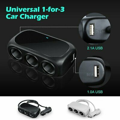 Car Cigarette Multi Socket Triple Splitter Lighter USB Charger Adapter 12V 3Way