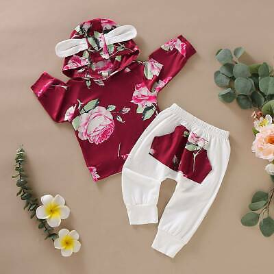 2Pcs Newborn Infant Baby Girl Floral Outfits Ear Hooded Tops Pants Tracksuit Set