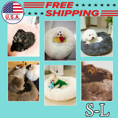 Pet Dog Cat Calming Bed Round Nest Warm Soft Plush Sleeping Bag Comfy Flufy US