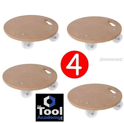 4 X Silverline ROUND Dollies Trolley Platform Wheels 1000kg Move Roll Heavy Item
