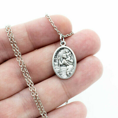 "Saint St Christopher Silver Plated Italian Medal Pendant Necklace 24"" Link Chain"