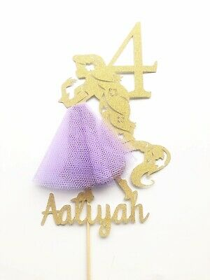 RAPUNZEL DISNEY Custom Cake Topper Glitter Any Name AGE Personalised Birthday