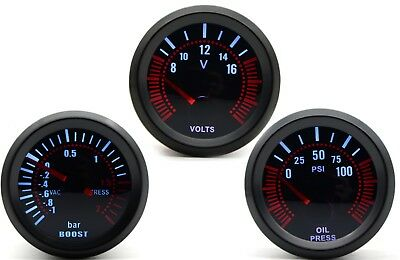 52mm AGG-1 Smoked Turbo Boost Bar + Oil Pressure + Volt 3 Gauge Kit
