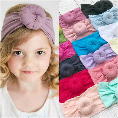 Kids Baby Headband Turban Cotton Beanie Hat Solid Soft Toddler Knot India Cap