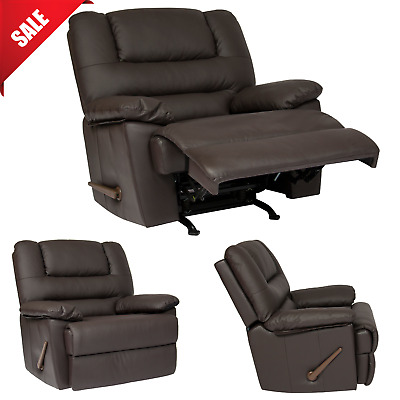 RECLINER CHAIR Rocking Seat Living Room Armchair Upholstered Faux Leather Brown