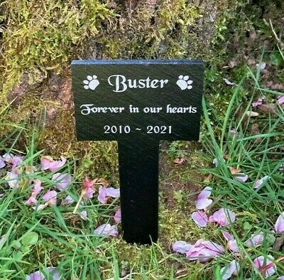 Personalised Engraved Small Pet Memorial Slate Grave Marker Plaque Stake Dog Cat