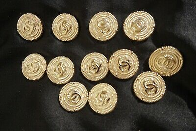 ❤💕💗💘💔 CHANEL BUTTON  5  pieces logo CC gold  0,8 inch  or 20 mm
