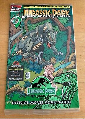 TOPPS MINT JURASSIC PARK # 1 COMIC BOOK FACTORY SEALED  w/ COLLECTOR CARDS 1993