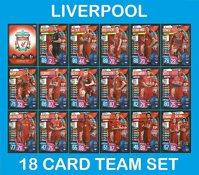Match Attax 2019/20 19/20 LIVERPOOL Full 18 Card Team Set