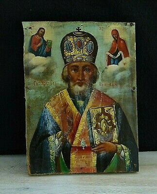 Antique Russian Hand Painted Wood Orthodox Icon St. Nicolas