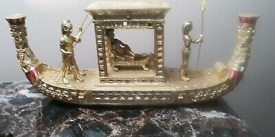 "Painted Resin Gold Egyptian Cleopatra Statue Boat 12"" Long ""The Queens Ship"""