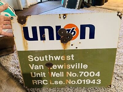 Union 76 Railroad Commission (RRC) Porcelain Oil Well Lease Sign Unocal