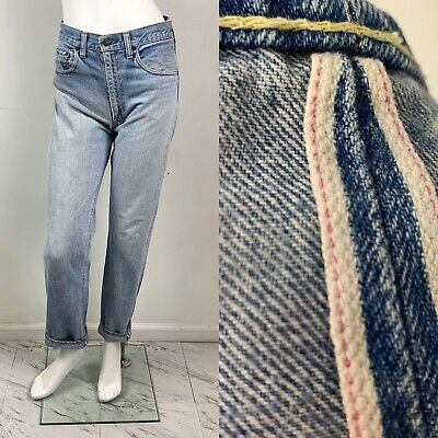"VTG 60s Levis Redline Jeans High Waisted Selvedge Denim W-28"" Big E"
