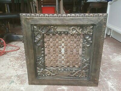 Antique unique wrought iron carved wood heating, window Grate wall mount framed