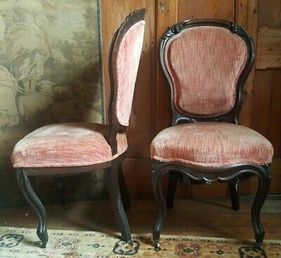 Pair Antique FRENCH LOUIS Mahogany Carved Back Ornate SALON Hall Side Chairs