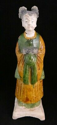 """Chinese Ming Dynasty Pottery Standing Female Robed Figure, 16th cent 12 1/2"""""""