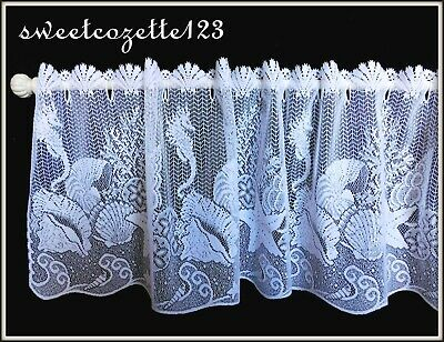 "HERITAGE LACE White SEASCAPE Valance 14"" x 60"" Made USA LACE TIER New in Package"