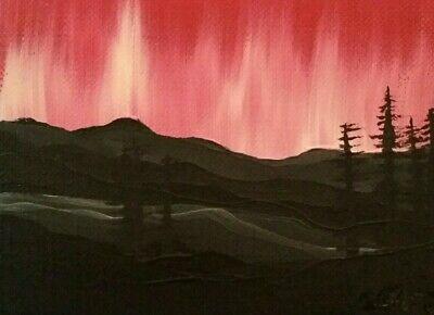 ACEO original art by Gemstars. Crimson Northern Lights abstract oil painting!