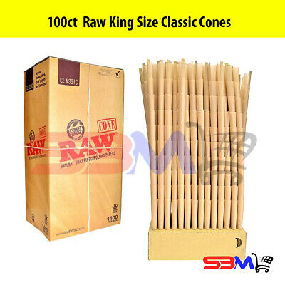 RAW CLASSIC KING SIZE Cones Unrefined Hemp Pre-Rolled w/ Filter - 100 Pack