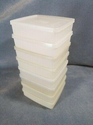 Vintage Tupperware #670 Square-A-Way Sandwich Keeper Sheer White - lot of 8!