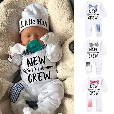 UK Newborn Baby Boys Cotton Little Man Romper Jumpsuit Clothes Long Outfits Set
