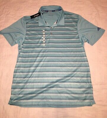 NEW Men's Adidas Golf Polo Shirt Size Large Climacool NWT Aqua Stripe