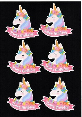 6 Printed Happy Birthday Unicorn Die Cuts.......cardmaking........scrapbooking