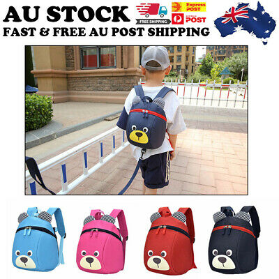 AU Cute Bear Children's Walking Harness Backpack Kids Toddler Safety Leash Strap